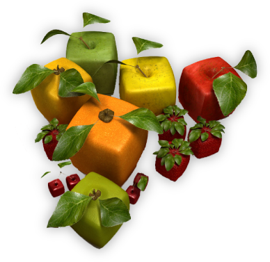Group of cubic fruits