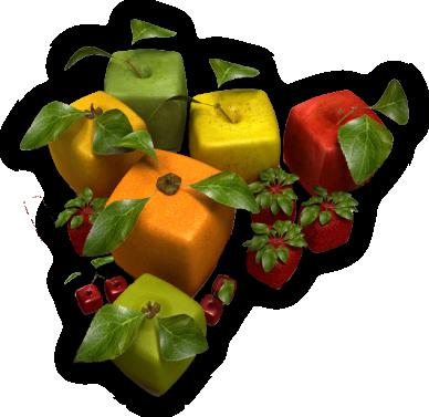 Gruppe von quadratischen Früchten